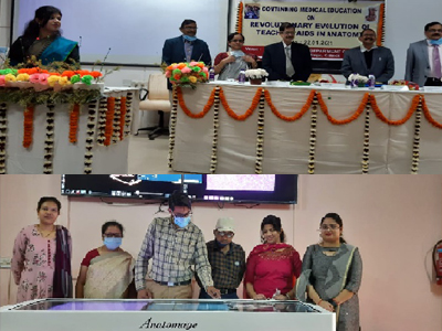 """CME on """"Revolutionary evolution of teaching aids in anatomy"""" conducted on 22.1.21 in the department of Anatomy and installation of the anatomage table for demonstrating virtual dissection to students and faculty."""